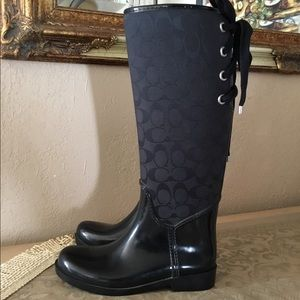 Coach Tristee Rain Boots logo black sz.7B $75